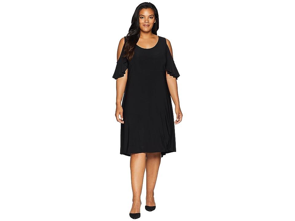 Karen Kane Plus Plus Size Cold Shoulder Hi Lo Dress (Black) Women