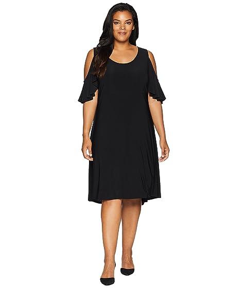 KAREN KANE PLUS Plus Size Cold Shoulder Hi Lo Dress, Black