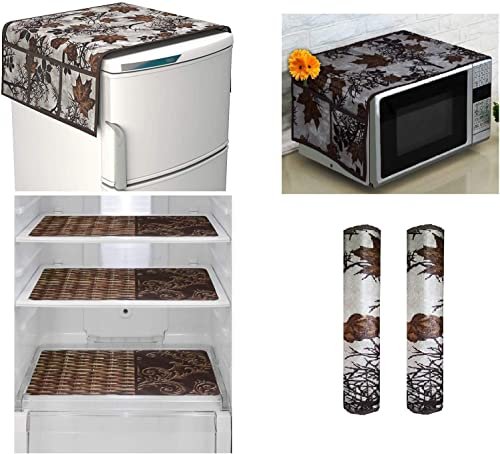 Goel Home Decor Exclusive Decorative Appliance Covers Combo Set of 1Pc Refrigerator Top Cover 2Pc Handle Cover 3Pc Refrigerator Drawer Mats Bamboo Design 1Pc Microwave Oven Cover Brown flower 7 pieces set