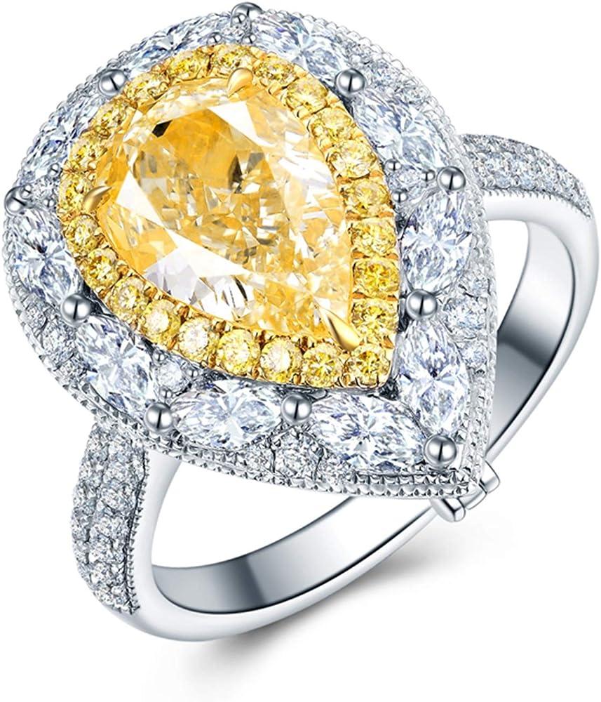 Knsam anello in argento,goccia d`acqua oro bianco 18 carati 2.5ct diamante vs ITFFGZ189JW2945