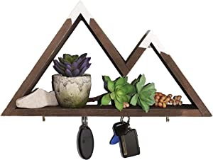 Mountain Shelf with Magnetic Key Holder for Wall with Shelf & Jewelry Holder. Display Shelf for Crystals, Mountain Key Hooks for Rustic Bathroom Decor, Woodland Nursery Decor, and Bedroom Decor