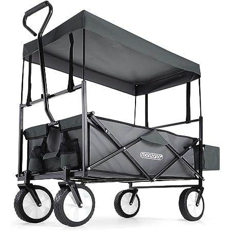 Deuba Chariot de Jardin Pliable 4 Roues avec Toit 100L Chariot de Transport à Main Gris Chariot de Plage remorque