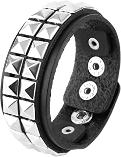 HZMAN Unisex Black Genuine Leather Silver Pyramid Studs Wristband 80s Gothic Punk Glam Emo