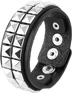 HZMAN Unisex Black Genuine Leather Silver Pyramid Studs Wristband 80s Gothic Punk Glam Emo