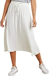 Drawcord Elasticised Waistband Flared Midi Skirt 10203336 For Women Closet by Styli