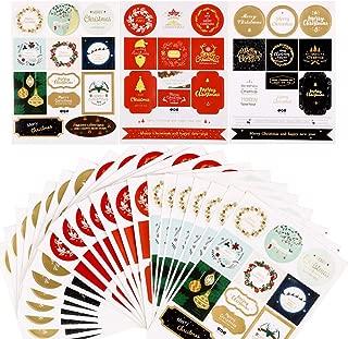 FLOFIA 288pcs Etiquetas Adhesivas de Navidad Regalo Pgatinas Navidad de Regalos Etiquetas Pegatinas Navideñas Adhesivas Stickers para Regalos Tarjeta de Felicitación Recuerdo Scrapbooking (24 Hojas)