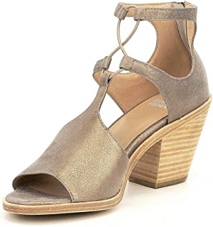 Womens Lou-MS Suede Open Toe Casual Ankle Strap, Gold, Size 11.0