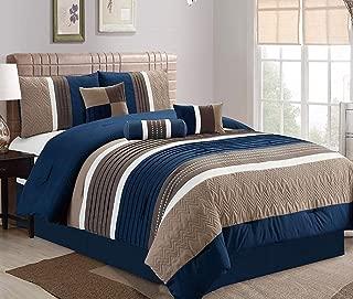 JBFF Queen 7 Piece Collection Bed in Bag Luxury Stripe Microfiber Comforter Set,Cal King, Navy