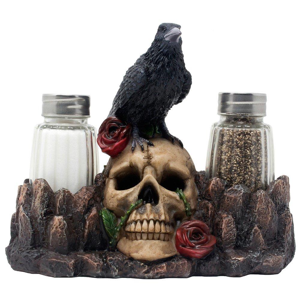 Bone Chilling Raven on Human Skull Salt and Pepper Shaker Set with Decorative Display Stand Figurine  sc 1 st  Amazon.com & Gothic Kitchen: Amazon.com