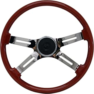 Beautiful African Hardwood Woodys WP-SWPB9801.3W Rosewood Chrome Truck Steering Wheel