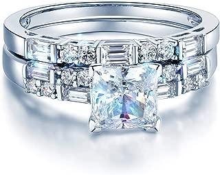 Solid 14k White Gold Polished CZ Cubic Zirconia Princess Cut Engagement Ring and Wedding Band Bridal Set