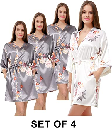 Women s Kimono Floral Robe for Bridesmaid Gift Set of 9 Silk Bridal Robe  for Bridal Party 7a41bc7eb