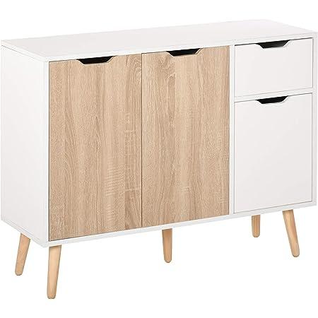 Buffet design scandinave 2 placards tiroir coulissant pieds bois massif pin panneaux particules blanc chêne clair