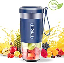 ANMIR Portable Mini Blender Personal Small Cordless Blender Juicer Mixer for Smoothies and Shakes with 10oz Juice Cup USB Rechargeable for Travel Outdoor Home Kitchen - BPA Free & Water Proof