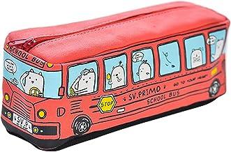 CAOLATOR Lona Caja de Lápiz Bolsa de Caso de Pluma de Autobús Bolso de la Cremallera Para Los Estudiantes y Empleado de Oficina(Rojo)