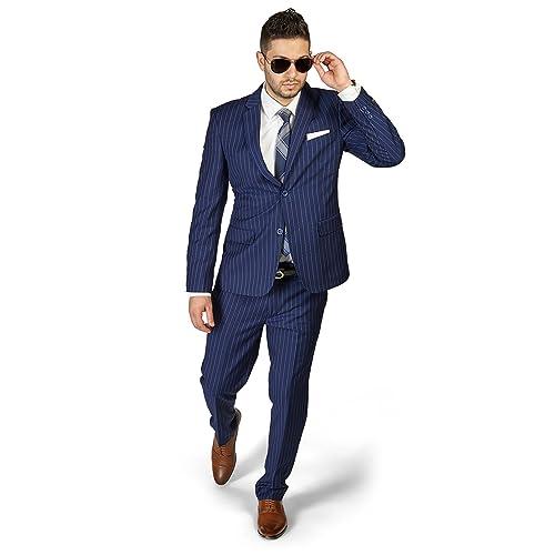 numerousinvariety custom utterly stylish Blue Pinstripe Suit: Amazon.com