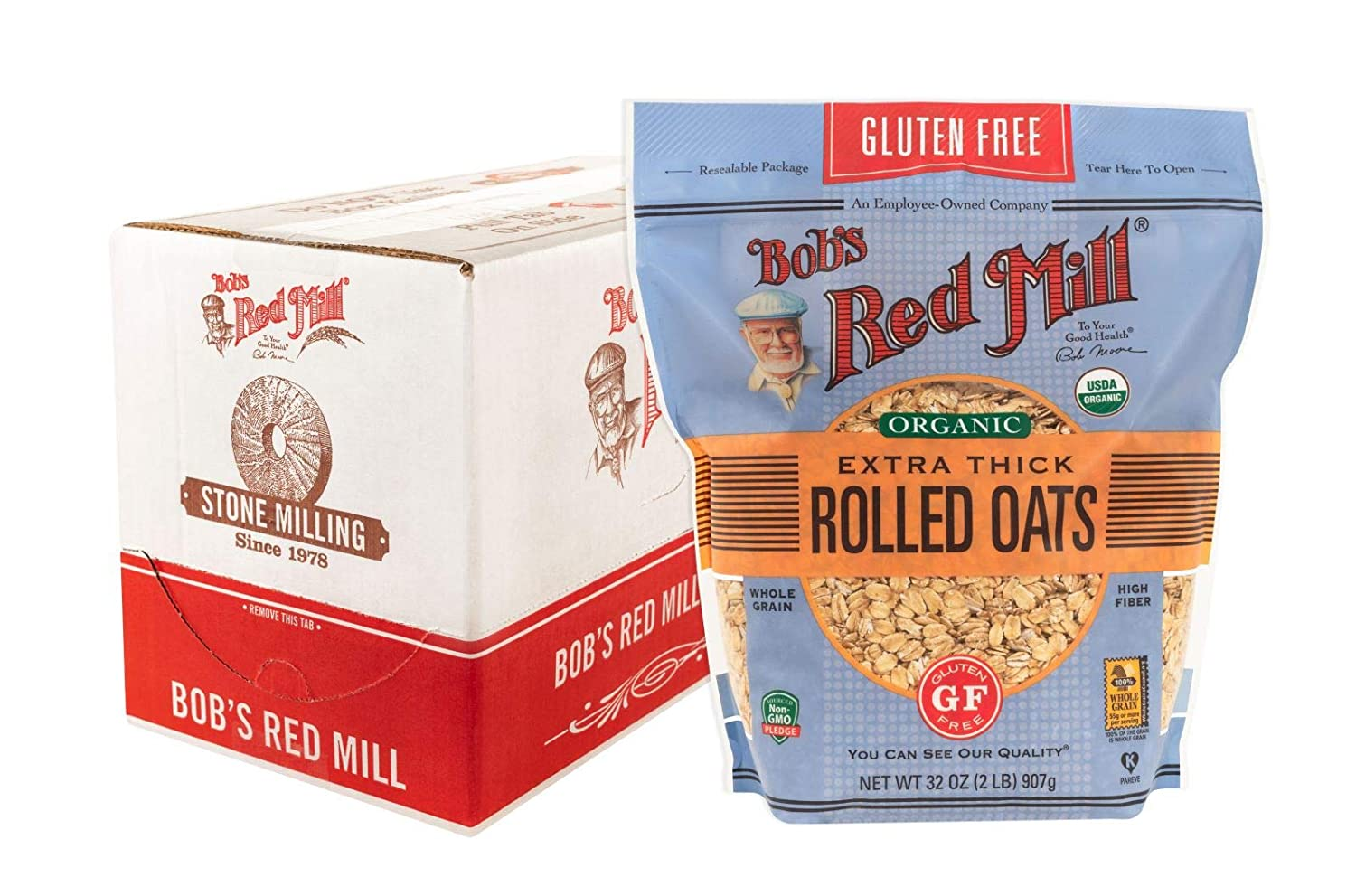Bob's Red Mill Gluten Free Organic Thick Rolled Oats, 32-ounce (Pack of 4)