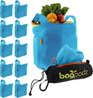 BagPodz Reusable Shopping Bags – Includes 10 Foldable Bags Inside a Compact Pod with Carry Clip – Super Strong Nylon Reusa...