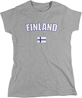 Finland Ladie's T-Shirt, Finnish Flag, Suomi, Republic of Finland Women's Finland Soccer Shirts AMD_FIN_08