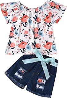Toddler Kids Baby Girl Summer Clothes Short Sleeve Floral Tops Jeans Shorts 2Pcs Outfits Set