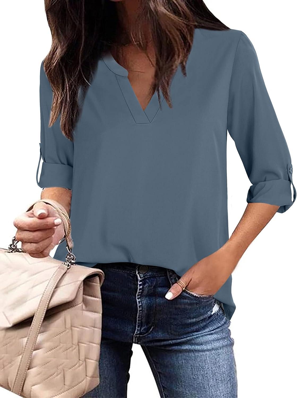 Gaharu Women's Casual 3/4 Sleeve Shirts Tops V Neck Chiffon Blouses