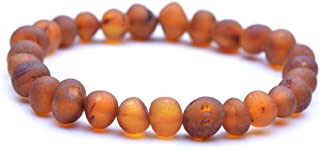Genuine Raw Baltic Amber Bracelet for Adult - Choose Your Colors and Choose Your Size! - 3 Sizes and 10 Different Colors - 100% Authentic Baltic Amber (8.6 Inches, Cognac)