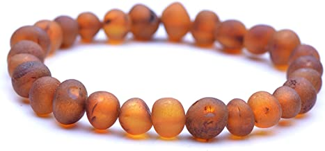 Genuine Raw Baltic Amber Bracelet for Adult on Elastic Thread - Authentic Baltic Amber Beads - 8.5 Inch - Cognac