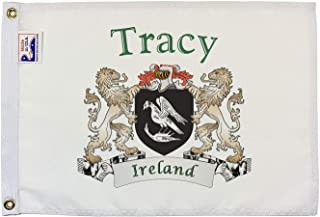 Tracy Irish Coat of Arms Small White Flag - 12