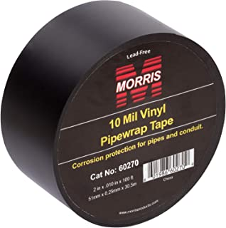 "Morris Products Black Pipe Wrap Tape – 2"" x 100 Ft x 10 Mil, 2-Inch Width – Self Amalgamating Heavy Gauge, Pressure Sensitive, Vinyl – Protection for Pipes, Conduit, Joints, Valves – Indoor/Outdoor"