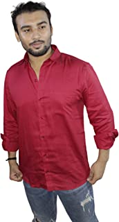 Spanish One Look Mens Long Sleeve 100% Cotton Regular Fit Button Down Casual Shirts Dress in Red Plain Shirt for Men
