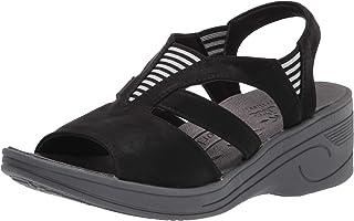 Easy Street Women's Sport Wedge Sandal, Black Matte, 6.5 Wide