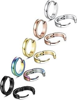 TOPBRIGTH 5 Pairs 316L Stainless Steel Hoop Earrings for Men Women Small Hoop Huggie Ear Piercings