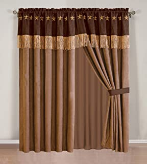 4 Piece WESTERN Lodge - Taupe / Brown Embroidered Lone Star Barbed Wire Curtain Set with attached Valance and Sheers