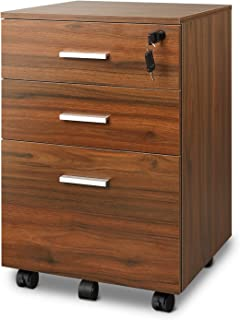 DEVAISE 3 Drawer Mobile File Cabinet with Lock, Wood Filing Cabinet, Fully Assembled Except Casters and Handles, Walnut