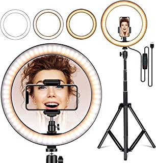 """Amconsure LED Ring Light,10"""" Selfie Ring Light with Adjustable Tripod Stand & Phone Holder for Live Stream/Makeup/YouTube Video/Photography Compatible iPhone Android"""