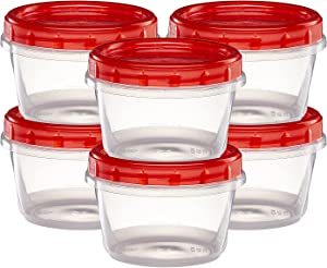 (16 Ounce 10 Pack) Twist cap Deli Containers Clear Bottom With Red Top Screw on Lids Twist Top Food Storage Freezer Containers