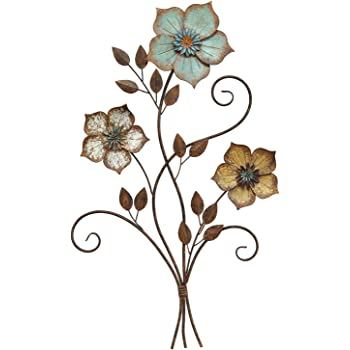 Amazon Com Stratton Home Decor S02369 Tricolor Flower Wall Decor 19 25 W X 1 50 D X 30 00 H Multi Home Kitchen
