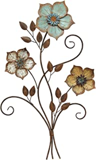 Stratton Home Decor S02369 Tricolor Flower Wall Decor, 19.25 W x 1.50 D x 30.00 H, Multi