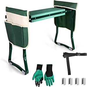 Siairo Garden Kneeler Seat Foldable Stool Bench with Gloves 2 Tool Pouches Belt EVA Foam Pad Protects Your Knees and Waist Sturdy and Lightweight
