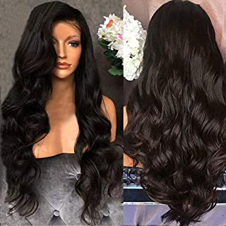 Black Brazilian Remy Human Hair Body Wave Lace Front Wigs 100% Virgin Natural with Bangs Color Baby Density Pre Plucked Hairline wigs for Women inch Womens Long Wigs,Shipping from USA