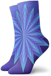 tyui7, Calcetines de compresión antideslizantes de arte de papel de flores geométricas azules Calcetines deportivos de 30 cm acogedores para hombres, mujeres, niños
