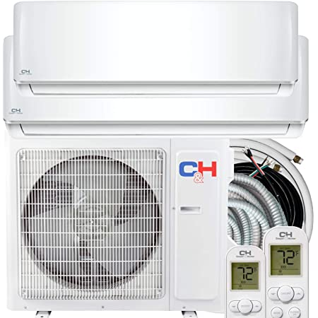 Cooper & Hunter Dual Zone 12000 18000 BTU Ductless Mini Split Air Conditioner Heat Pump Full Set with 25ft Installation Kits