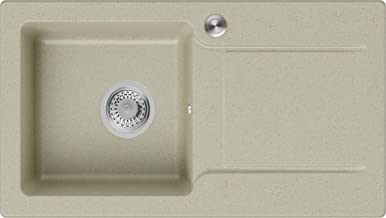 Granieten Gootsteen Beige + Pop-Up Sifon + Antibacterieel Oppervlak, Voor Keukenkasten vanaf 45 cm, Grootte 78 x 44 cm, Go...