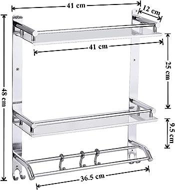 Plantex Elegant-Plus High Grade Stainless Steel Multipurpose 3-Tier Bathroom Shelf with Towel Holder/Towel Hooks/Bathroom Acc