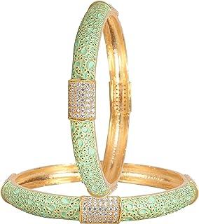 مجوهرات راتافالي تشيكوسلوفاكيا زركونيا ذهبية لهجة أنيقة أزرق وردي أخضر أبيض المينا الهندي أساور بوليوود للنساء