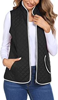 HOTLOOX Women Waterproof Sleeveless Quilted Vest Stand Collar Zipper Gilet S-XXL