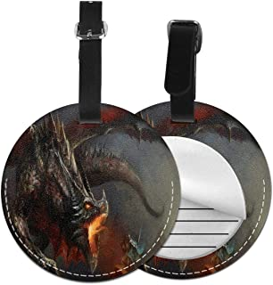 Round Travel Luggage Tags,Fantasy Scene Fearless Knight Dragon Mythology Art Antique,Leather Baggage Tag 4 PCS