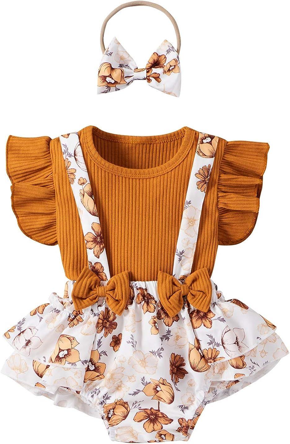 Baby Girl Summer Clothes Set Ruffle Flying Sleeve Rib Knitted Romper Floral Suspender Shorts Headband 3PCS Set