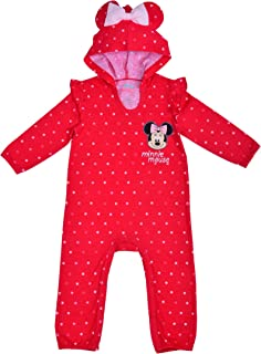 Disney Baby Girl Minnie Mouse Coverall Romper Onesie with Hood and 3D Mouse Ears