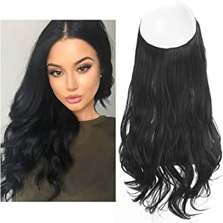Black Hair Extension No Clip in Halo Hairpiece Long Secret Natural Wavy Synthetic Hair..